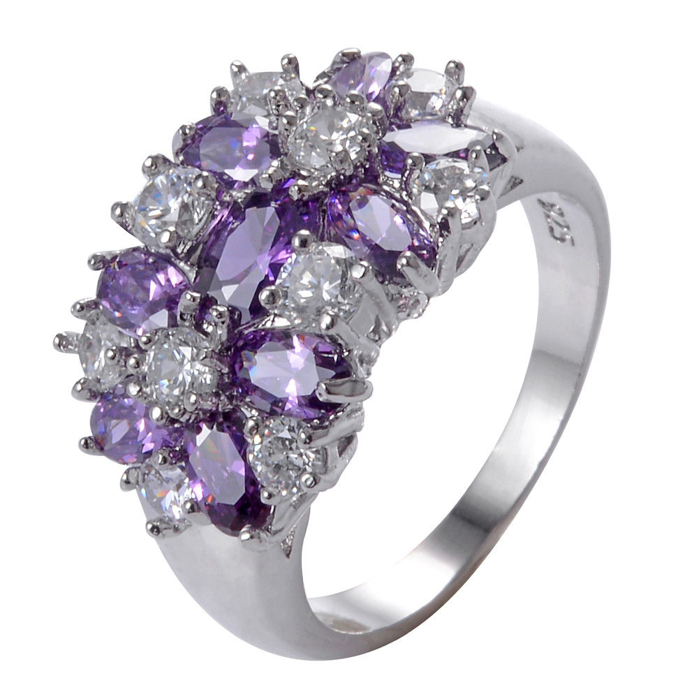 טבעת יוקרה כסף 925 בשיבוץ אמטיסט וזירקונים מידה: 11