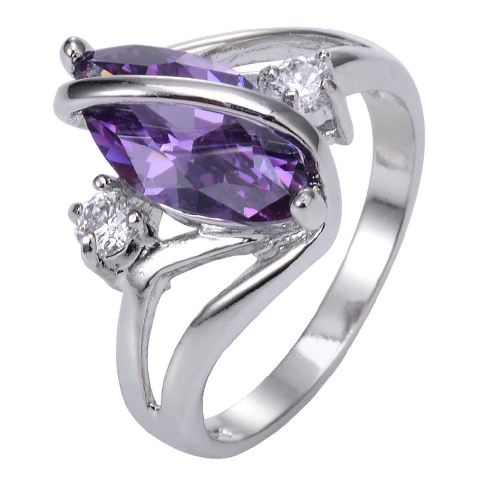 טבעת יוקרה כסף 925 בשיבוץ אמטיסט מידה: 8