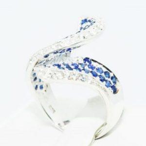 טבעת יוקרה כסף 925 בשיבוץ ספיר כחול מידה: 7.5