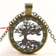 תליון ושרשרת ברונזה עץ החיים הקבלי גווני חום לבן