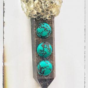 מוט כישופים - מוט טיפולים עבודת יד מאבני אסטרופולייט, קוורץ שחור וטורקיז