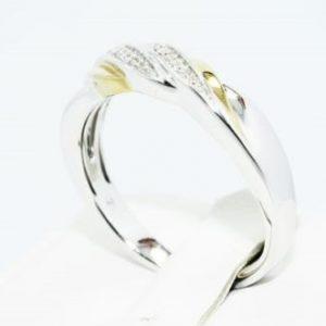 טבעת כסף בציפוי זהב בשיבוץ יהלומים לבנים 11. קרט מידה: 10.75
