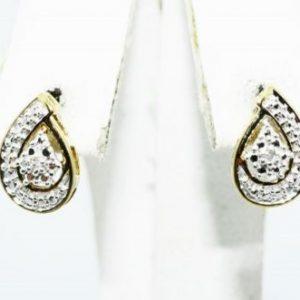 עגילי כסף בציפוי זהב בשיבוץ יהלומים לבנים 02. קרט עיצוב טיפה