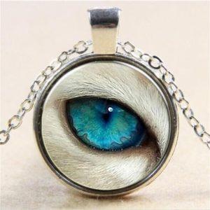תליון ושרשרת מוכסף סמל עין הזאב (הגנה מעין הרע)