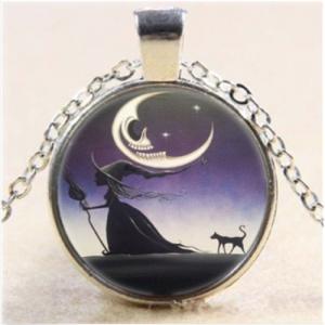 תליון ושרשרת מוכסף מכשפה לאור ירח