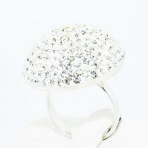טבעת כסף בשיבוץ אבני קריסטל מלוטש 8 קרט מידה: 6.5