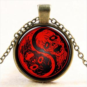 תליון ושרשרת ברונזה גולגלות יין ויאנג גווני אדום שחור