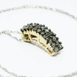 שרשרת זהב לבן 14 קרט תליון זהב צהוב 14 קרט בשיבוץ יהלומים גוון קוניאק מלוטשים 20. קרט