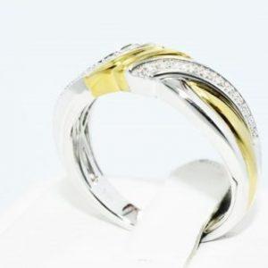 טבעת כסף וציפוי זהב בשיבוץ יהלומים לבנים 06. קרט מידה: 10.25