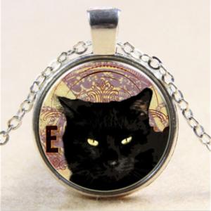 תליון ושרשרת מוכסף חתול שחור