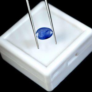 """ספיר כחול מלוטש לשיבוץ - תעודה 1.50 קרט מידה: 2*6*8 מ""""מ"""