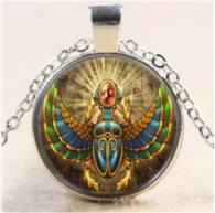 תליון ושרשרת מוכסף חיפושית סמל מצריים הקדומה