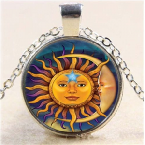 תליון ושרשרת מוכסף ויקה סמל השמש והירח