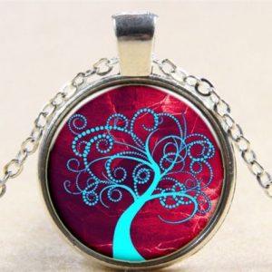 תליון ושרשרת מוכסף סמל עץ החיים הקבלי גווני כחול אדום