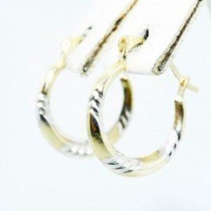 """עגילי זהב צהוב ולבן 10 קרט עיצוב חישוק קוטר 1.5 ס""""מ"""