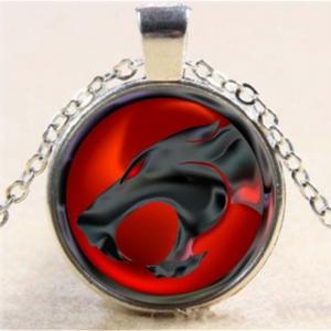 תליון ושרשרת מוכסף סמל חתול בשחור אדום