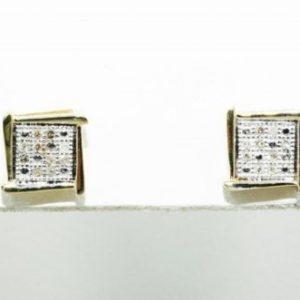 עגילים זהב צהוב בשיבוץ יהלומים לבנים 10. קרט עיצוב מרובע
