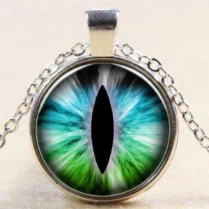 תליון ושרשרת מוכסף ויקה עין הדרקון (הגנה מעין הרע) גווני כחול ירוק