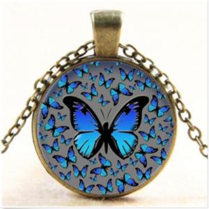 תליון ושרשרת מוכסף פרפרים (שינוי וטרנספורמציה) גוון כחול