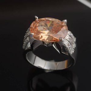 טבעת כסף 925 בשיבוץ טופז מידה: 6
