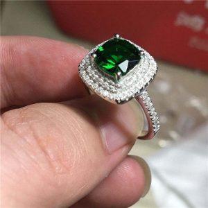 טבעת כסף 925 בשיבוץ אמרלד וטופז לבן מידה: 8
