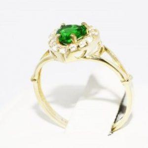 טבעת זהב צהוב 10 קרט בשיבוץ דיופסיד וטופז לבן מידה: 7