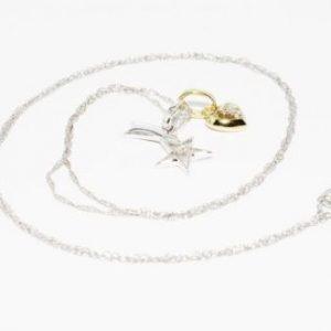 שרשרת ותליון זהב לבן וצהוב בשיבוץ כוכב נופל זהב לבן ולב זהב צהוב בשיבוץ יהלומים 02. קרט