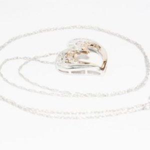 שרשרת זהב לבן ותליון לב זהב לבן וצהוב בשיבוץ יהלומים 45 קרט ניקיון: l1