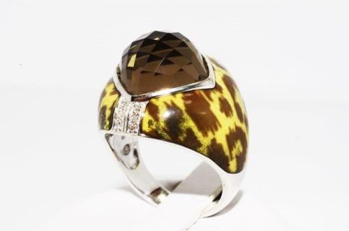 טבעת כסף 925 בשיבוץ אבן סמוקי קוורץ ויהלומים לבנים 6.19 קרט עיטור אמייל מנומר