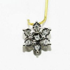 תליון זהב לבן 10 קרט בשיבוץ 7 יהלומים לבנים 07. קרט ניקיון יהלומים SI2