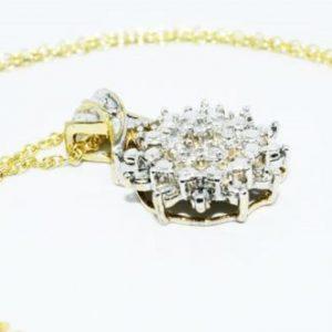 תליון ושרשרת כסף בציפוי זהב בשיבוץ יהלומים לבנים 13. קרט