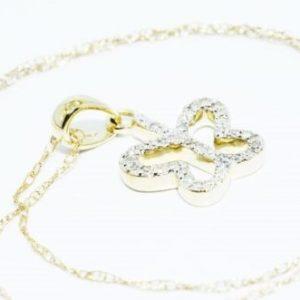שרשרת ותליון זהב צהוב בשיבוץ יהלומים לבנים 29. קרט עיצוב פרפר