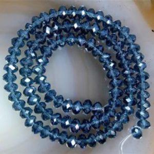 """שרשרת חרוזי קריסטל כחול מידה: 4*6 מ""""מ"""