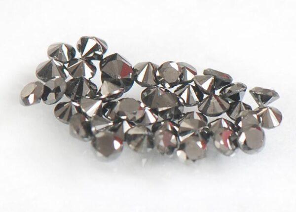 יהלומים שחורים מלוטשים 0.40 קרט בחבילה כל יהלום 1-2 נקודות, דרום אפריקה, ליטוש מושלם