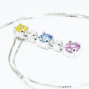 תליון ושרשרת זהב לבן בשיבוץ 3 ספיר 2 יהלומים 1.06 קרט צבע ספיר: צהוב ורוד כחול