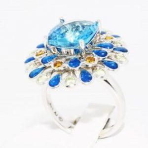 טבעת יוקרה כסף בשיבוץ אבני טופז וסיטרין 5.80 קרט קישוטי אמייל כחול מידה 7