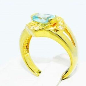 טבעת יוקרה כסף ציפוי זהב בשיבוץ אפטייט איכותי וטופז לבן 1.75 קרט מידה: 7.25