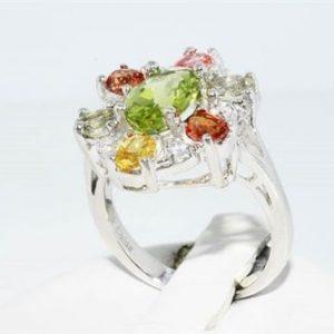 טבעת יוקרה כסף בשיבוץ ספיר, פרידות וטופז לבן 3.20 קרט מידה: 5