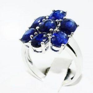 טבעת יוקרה כסף בשיבוץ ספיר כחול 3.50 קרט מידה: 8.25