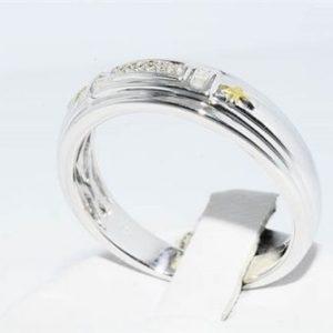 טבעת כסף וציפוי זהב בשיבוץ 12 יהלומים לבנים 0.8 קרט מידה: 10