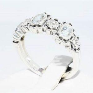 טבעת יוקרה כסף בשיבוץ 3 אקוומרין משקל: 0.66 קרט