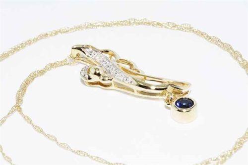 תליון ושרשרת זהב צהוב בשיבוץ ספיר + 6 יהלומים לבנים ניקיון ספיר: vs צבע: כחול ניקיון יהלומים: SI2