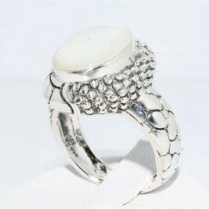 טבעת יוקרה כסף 925 בשיבוץ אם הפנינה 6.02 קרט מידה: 7.25