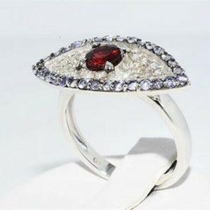 טבעת יוקרה כסף עיצוב עין בשיבוץ גרנט 32 טנזנייט 34 טופז לבן מידה: 7.5