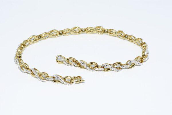 צמיד כסף 925 בציפוי זהב בשיבוץ. 45 יהלומים 20. קרט ניקיון יהלומים: SI2