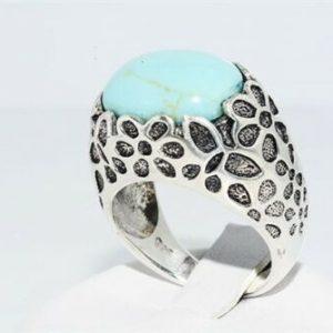 טבעת יוקרה כסף בשיבוץ טורקיז משובח משקל: 7.60 קרט מידה: 7