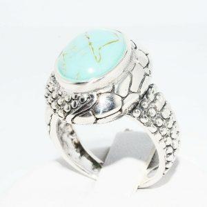 טבעת יוקרה כסף 925 בשיבוץ טורקיז 5.60 קרט מידה: 7
