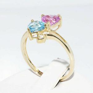 טבעת זהב צהוב 10 קרט בשיבוץ טופז כחול וטופז ורוד + 2 טופז לבן מידה: 8