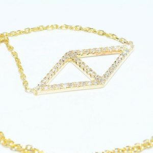 שרשרת זהב צהוב 14 קרט בשיבוץ 48 יהלומים לבנים 17. קרט ניקיון יהלומים: VS1