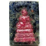 ספיר כחול ואדום מפוסל עבודת יד (אפריקה) פיסול בודהה משקל: 51.77 קרט